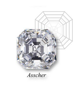 An example of an asscher-cut diamond in front of a geometric mockup of the shape's structure with an heart label underneath.