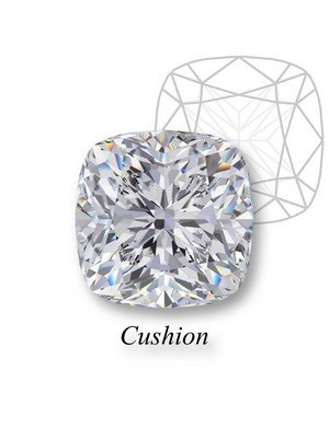 A cushion-cut diamond on display with its geometric design behind it