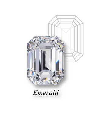 An emerald cut diamond on display with Emerald label underneath and a mockup of its facet pattern behind.
