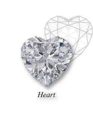 An example of an heart-cut diamond in front of a geometric mockup of the shape's structure with an heart label underneath.