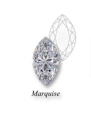 An example of an marquise-cut diamond in front of a geometric mockup of the shape's structure with an heart label underneath.