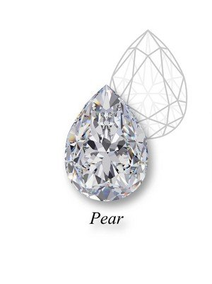A brilliant example of a pear-cut diamond with its structural mockup behind and pear label below