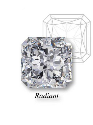 A stunning example of a radiant diamond with radiant label below and a drawing of the radiant shape design behind