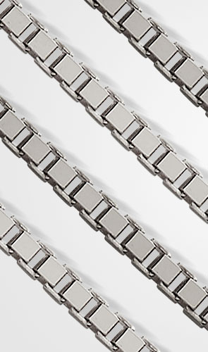 Pictured are white gold box chains against a white background.