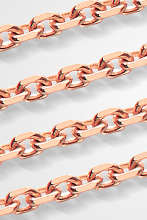 Pictured are rose gold cable chains against a white background.