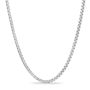 Pictured is a 10K white gold box chain against a white background.