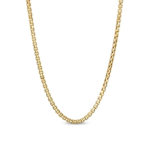 Pictured is a gold box chain against a white background.