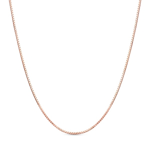Pictured is a rose gold box chain against a white background.
