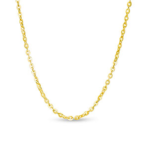 Pictured is a gold cable chain against a white background.