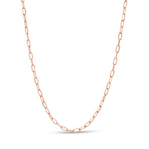 Pictured is a rose gold cable chain against a white background.