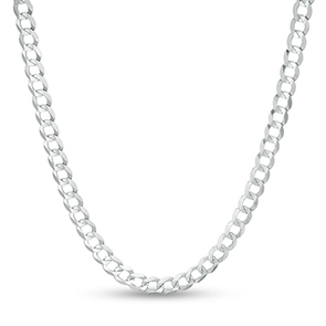 Pictured is a white gold curb chain against a white background.