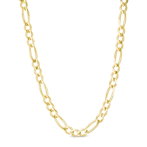 Pictured is a gold Figaro chain against a white background.