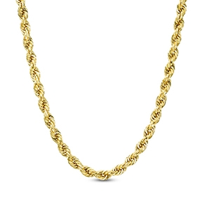 Pictured is a gold rope chain against a white background.