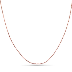Pictured is a rose gold rope chain against a white background.