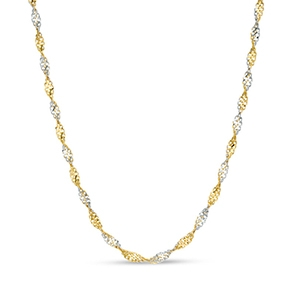 Pictured is a two-tone gold Singapore chain against a white background.