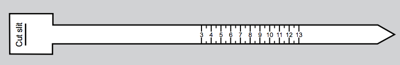 A flat ring size ruler that helps find ring size against a grey background.