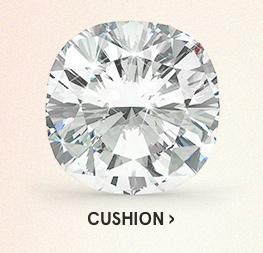 Image of a cushion diamond cut on a light pink background.