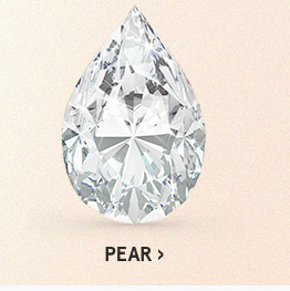 Image of a pear diamond cut on a light pink background.
