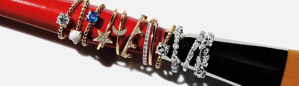 A variety of gold and diamond rings