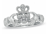 A silver Claddagh ring