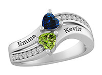 A mother's heart-shaped birthstone double row ring
