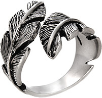 An oxidized feather bypass ring in stainless steel