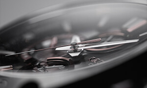 A close-up view of an analog watch face