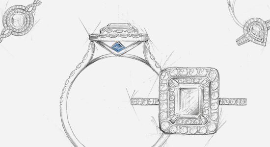 Four sketches of a custom engagement ring