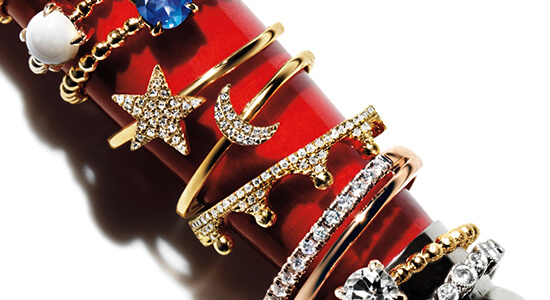 A variety of right-hand gold and diamond rings