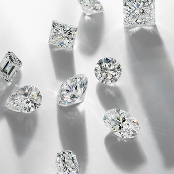 A variety of small, uniquely shaped diamonds